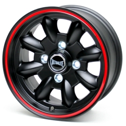 ULTRALITE WHEEL 5.5J-12 Black+Red stripe (センターキャッ…