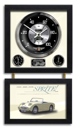"AUSTIN HEALEY ""FROGEYE"" SPRITE ILLUSTRATED CLOCK"